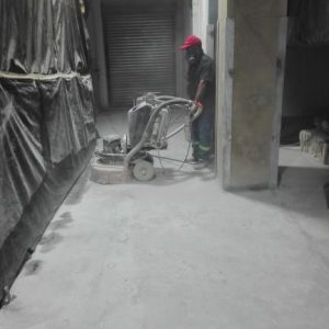Cold room floor being polished
