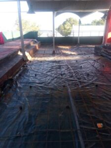 Floor prepared for concrete slab to be cast